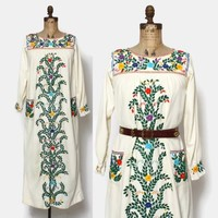 Vintage 60s Mexican Dress / 1960s Boho Ivory Cotton Long Sleeve Embroidered Hippie Maxi Dress
