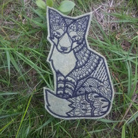 Iron On Patch Tribal Fox Applique in Moss Green and Black