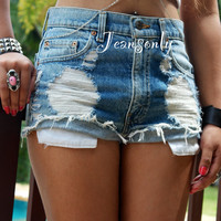 Levis High waisted jean shorts distressed shorts ripped denim shorts destroyed high waist by Jeansonly