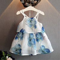 2016 Kids Baby Girls Dress Butterfly Flower Party Dresses Summer Beach Sundress
