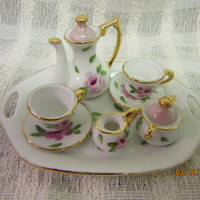 Tea Set  Miniature Mini Doll, Set with tray Porcelain China,Ceramic Hand painted by B Marsh Pink roses trimmed in Gold Princess tea set