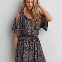 AEO PRINT FLUTTER SLEEVE DRESS