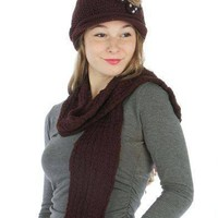 KNIT HAT AND SCARF SET Brown For $0.01 when you spend over $30.00