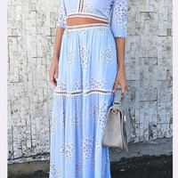 Light Blue Floral Backless Hollow-out 2-in-1 Tie Back Maxi Dress