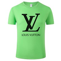 LV Louis Vuitton Fashion Men Women Casual Print Cotton Tunic Shirt Top Green