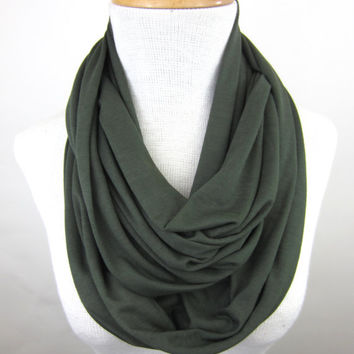 Olive Green Infinity Scarf - Dark Green Circle Scarf - Green Jersey Scarf