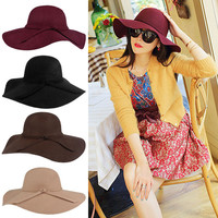 2016 Hot New Summer Autumn Hats For Women Lady With Wide Brim Wool Felt Bowler Fedora Hat Floppy Cloche Sun Beach Bowknot Cap