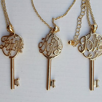 Necklace- Golden Key Necklace, Charm Necklace Gift