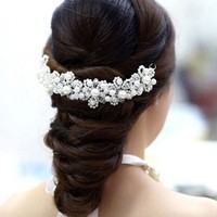 Fashion Pearl Crystal Tiaras Wedding Hair Accessories For Bride Hairpins Bridal Hair Jewelry Headwear Decorations Hair Clips