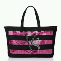 Victoria's Secret Limited Edition Black and Pink Sequined Tote Bag