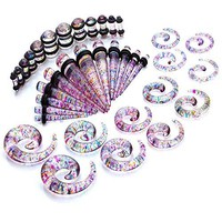 BodyJ4You Gauges Kit Tie Dye Spiral Taper Plugs 8G-00G Ear Stretching Body Jewelry 36 Pieces