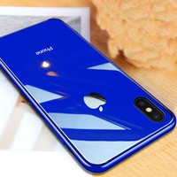 Have Logo Phone Case For Apple Iphone XS Max Tempered Glass back Cover For Iphone Xs max Coque Silicon Frame For Iphone XR YAGOO