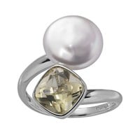 Freshwater Cultured Pearl & Lemon Quartz Sterling Silver Bypass Ring (Yellow)