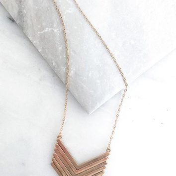 Worn Gold Chevron Pendant Necklace