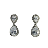 "Cubic Zirconia Earrings Pear Drop Stud 1"" Long"