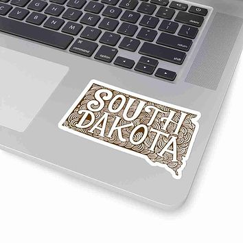 South Dakota State Shape Sticker Decal - Brown