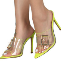 Hot style hot selling metal buckle transparent plastic pointed thin heel sandals