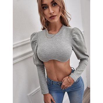 Leg-of-mutton Sleeve Crop Top