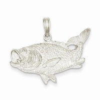 14k White Gold Bass Fish with Tail Up Pendant