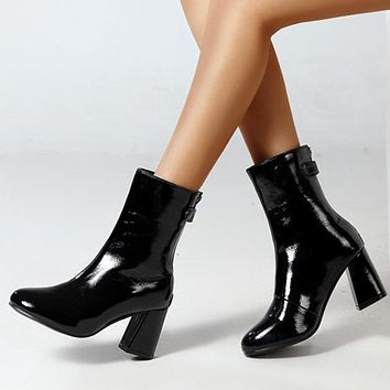 New style women's boots European and American sexy pointed thick high heel boots bklack