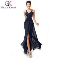 Grace Karin Long Prom Dresses Chiffon Backless Split Strap Deep V neck Women Maxi Dress Navy Blue Special Occasion Gowns 2016
