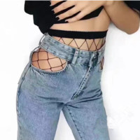 Jeans hosiery for hole mesh backing Medium fishnet tights seamless integration pantyhose Black