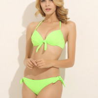 2pcs Swimsuit Solid Push Up Sexy Beahwear