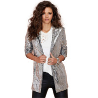 Silver Sequined Long Sleeves Blazer Jacket