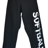 SOFTBALL Sweatpants in Black with White Print