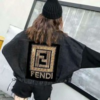 FENDI Fashion Women Casual Embroidery Long Sleeve Cardigan Denim Jacket Coat Black