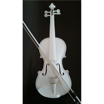 Student Acoustic Violin Full 4/4 Maple Spruce with Case Bow Rosin Whole White Color