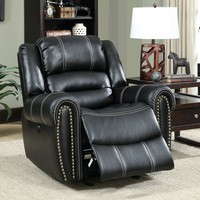 Phoebe Transitional Breathable Leatherette Recliner Chair, Black