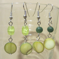 Bead & Lime Green Shell Disc Dangle Earrings, Handmade, Original Design, Fashion Jewelry, Simple Elegance, Summer Style, Bright Colors, Bold