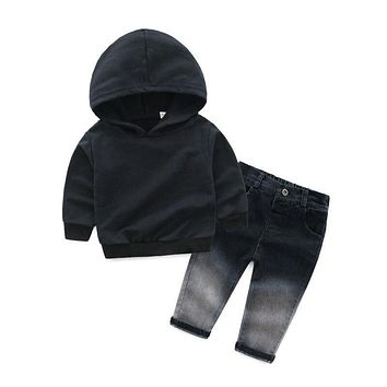 Ins Autumn Baby Boy Long Sleeve Hoodie Set Letter Print Sweatshirt Tops+Sports Pants Cool Outfits Hot