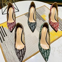 Dior Sexy pointed-toe super high-heeled shoes, large size stiletto women's shoes letter flower high heels