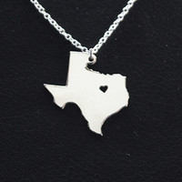 SALE - I Heart Texas Necklace - Texas Pendant - State Necklace - State Charm - Map necklace - Map Jewelry