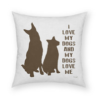 """I Love My Dogs by Artist Lisa Weedn Artistic 18""""x18"""" Throw Pillow"""