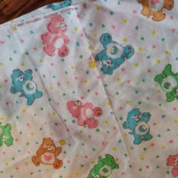 """Vintage 1984 Licensed Care Bears Fabric 1 yd x 20"""" wide with Bonus 8"""" x 10"""" square"""