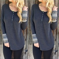 Long Sleeve Tops Autumn Round-neck Bottoming Shirt [8894721031]