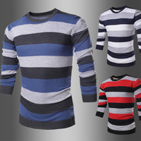 Stripe Knitted Men's Color Sweater