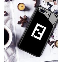 Fendi Fashion New Letter Print Women Men Phone Case Protective Cover Black