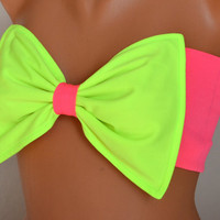 Neon green and neon poink padding paint bow swimsuit bandeau bikini top spandex bandeau bow bandeau bikini bow bikini top women's fashion