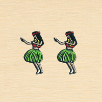 Set of 2 pcs Mini Hawaii Girl Dance Dancing Iron On Patches Sew On Appliques
