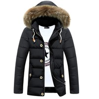 Winter Men's Jackets Fur Collar Long Parkas Men Overcoats Thick Casual Hooded Male Coats Brand Clothing