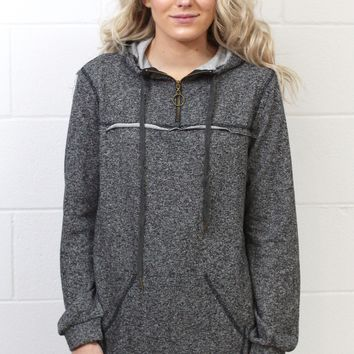 Heathered Zip Up Hooded Pullover {Black}