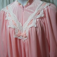Long Robe, Peach Soft Velvet, Romantic, Victorian Lace, Size S Small, Non Separating Zip, Lounging, Winter Cozy, Donna Richard