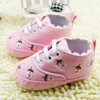 1pair Baby Girl Flower Shoes Baby  Princess Shoes First Walkers Footwear Toddler Soft Sole Shoes