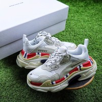 GUCCI x Balenciaga Triple-S 17FW Retro Sneaker White Red Shoes - Sale