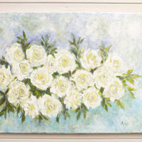 Large Original Abstract Modern Painting Cream Roses Acrylic on Canvas