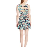 As U Wish Juniors Bow Back Printed Skater Dress